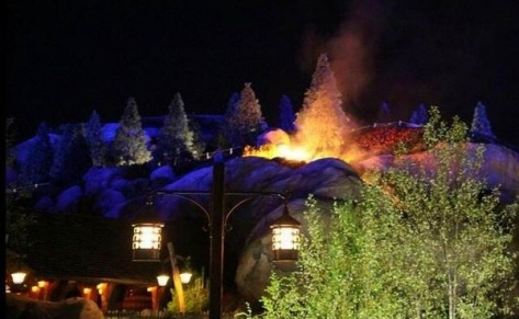 Fire on top of Mine Train ride