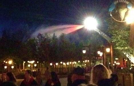 Firehoses dousing the blaze.