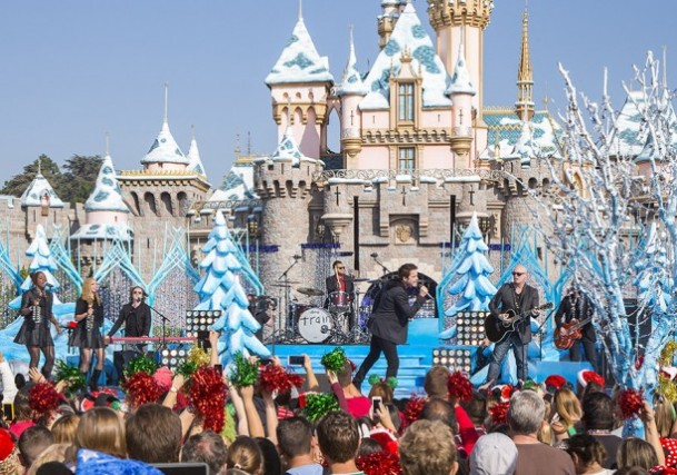 "Train took the stage at Sleeping Beauty's Winter Castle in Disneyland to perform ""Shake Up Christmas."""