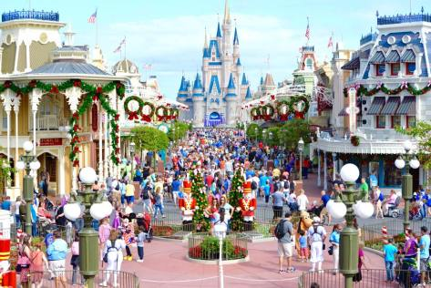 Main Street USA all decorated for CHristmas.   Photo credit:  WDW Shutterbug.