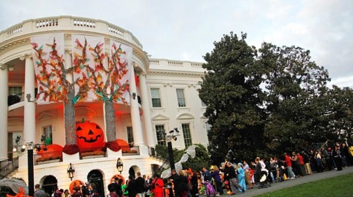 Over 4,000 trick-or-treating children in costume.