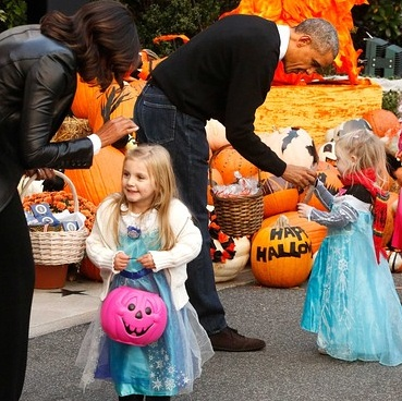 Hundreds of Disney princesses attended the trick-or-treating event.