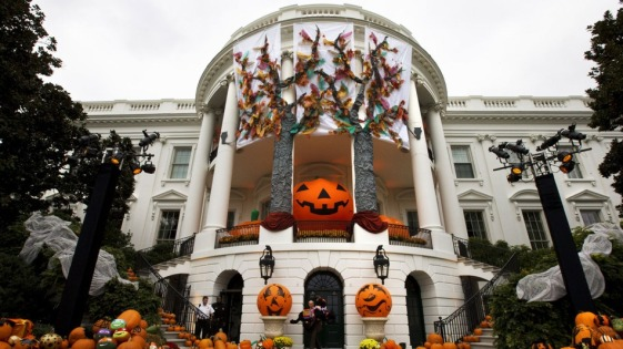 Halloween decorations adorn the South Portico of the White House in Washington, DC.