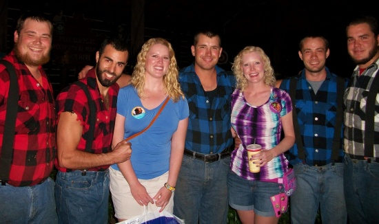 Meeting the Canadian Lumberjacks after the show.  (The guy on Caroline's right was a little too touchy-feely!)