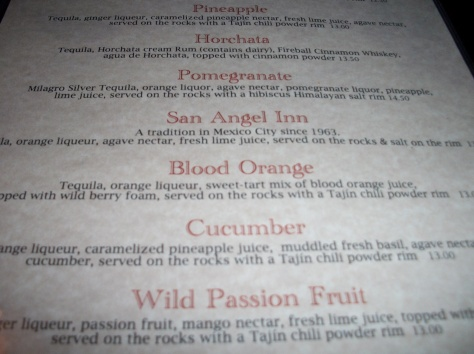 The tequila drink menu