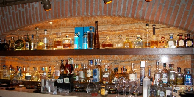 Over 100 kinds of tequila at the bar.