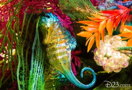 An up-close look at the beautiful garland that will adorn the exterior of The Little Mermaid ~ Ariel's Undersea Adventure at Disney California Adventure.