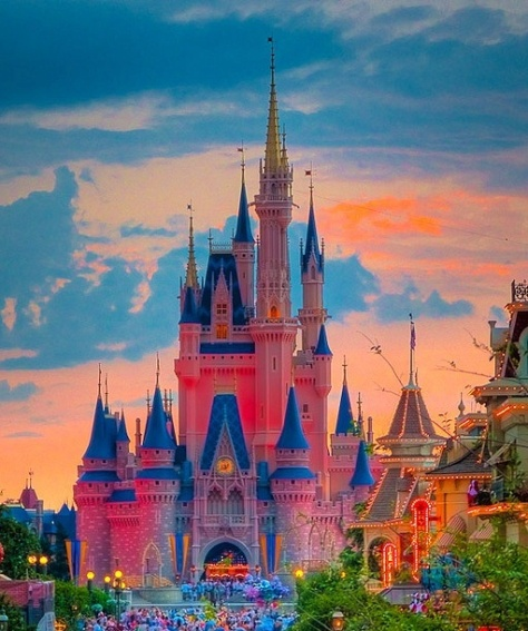 The Cinderella Castle at sunset.