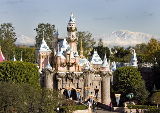 Disneyland at Christmastime with the Santa Ana Mountains to the east.