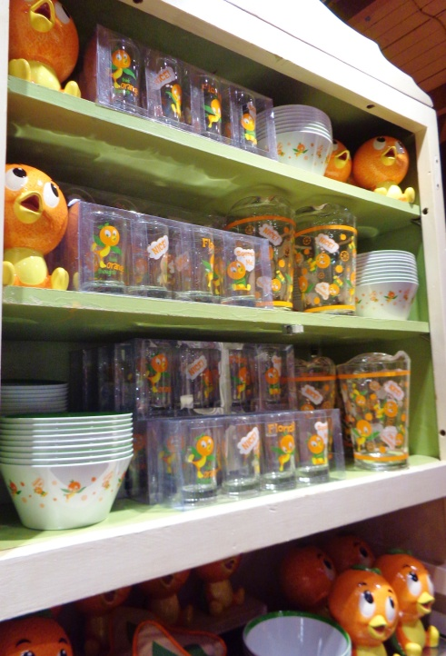 Shelves full of Orange Bird merchandise!