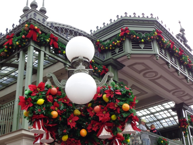 Every building and lampost is decorated.