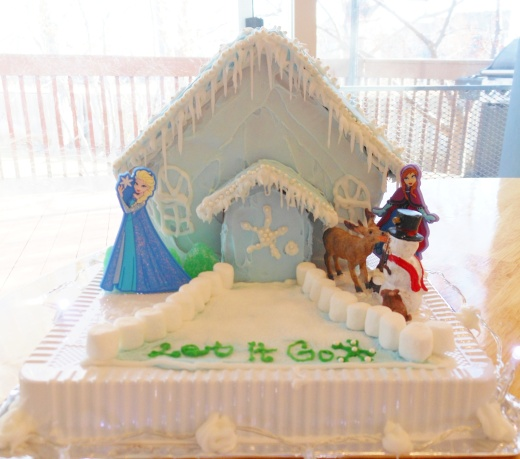 Our Frozen-themed Gingerbread House!
