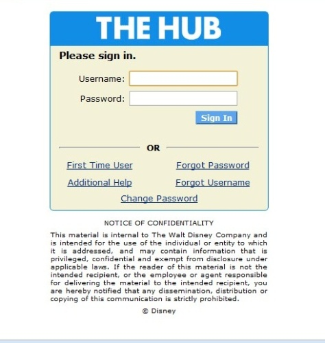 The Hub log-on page