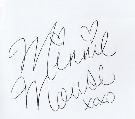 Minnie signed Caroline's book too.