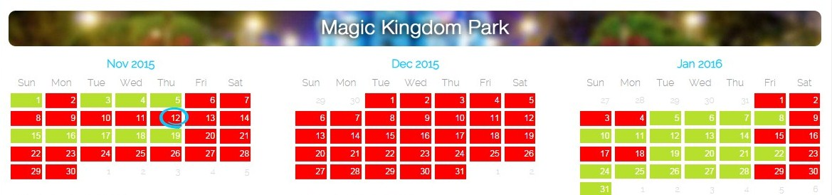 Disney cast member blackout dates 2015