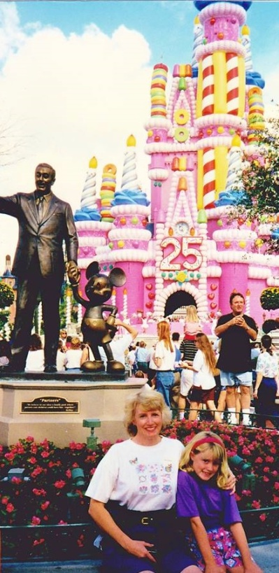 At WDW for the 25 Anniversary celebration - in the of the Pink Castle.