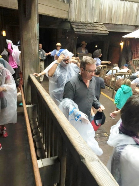 Tim on Splash Mountain.  It was a cold and raining day.