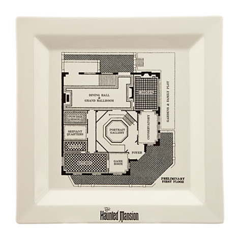Each piece of  dinnerwear features a floor plan of the HM.