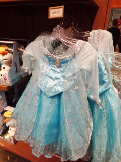 Elsa dresses are available now ($70), as are stuffed Olafs in every size.