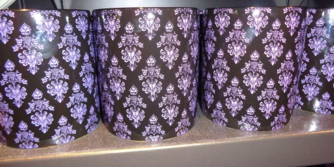 Damask mugs.  (Wallpaper from the Haunted Mansion pattern)