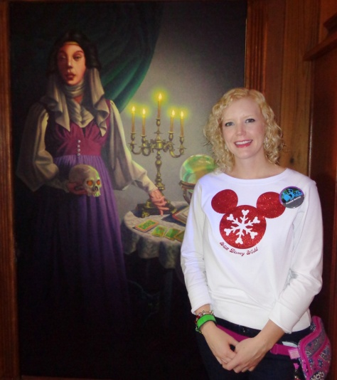 Caroline in front of Madame Leota's beautiful - and everchanging - portrait.