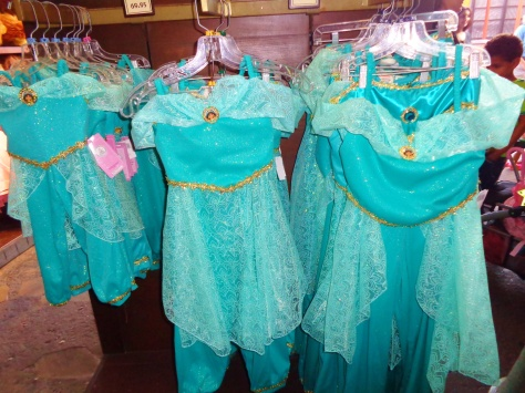 Lots of Princess Jasmine dresses for little Disney princesses.