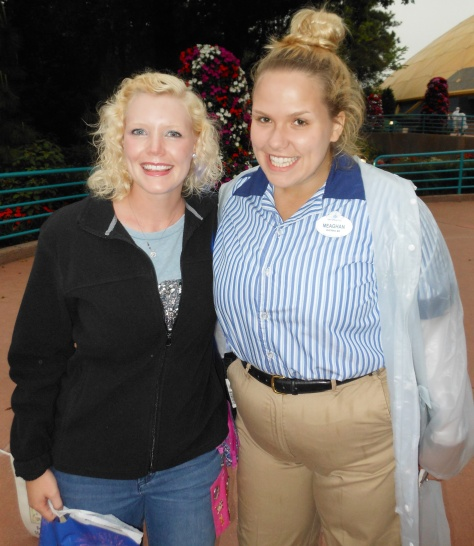 Our friend, Meaghan, wearing her work rain jacket at Epcot.