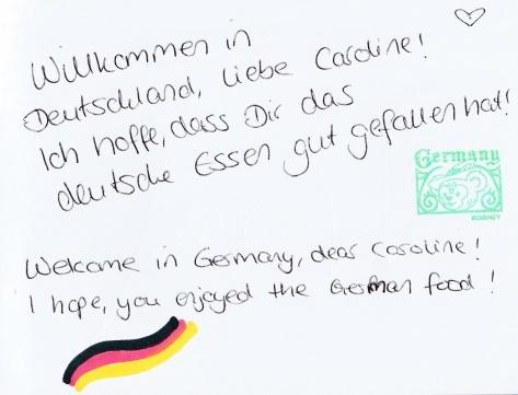 Mareike's note to Caroline