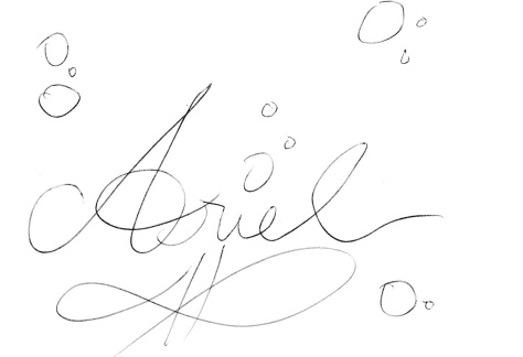 Arile always signs this way, with lots of bubbles.