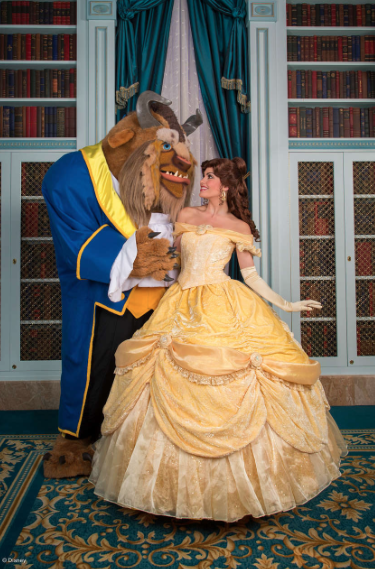 Belle and the Beast in the library