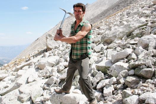 Steve Brancato working his aquamarine claim up on Mt. Antero.