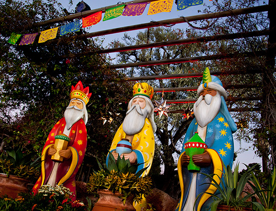 The sculptures of the Three Wise Men bearing gifts.