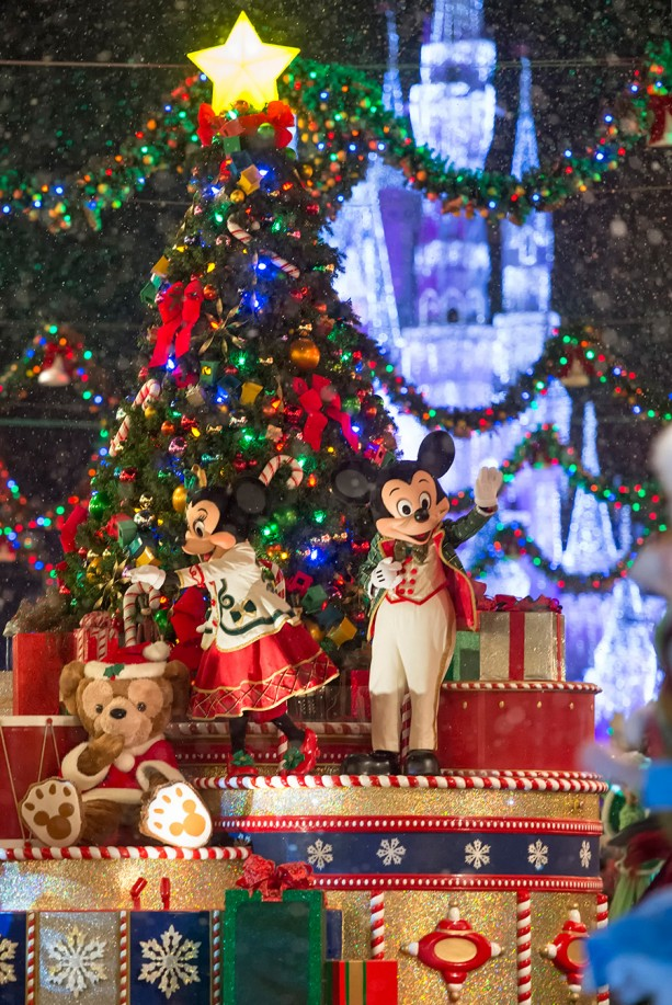 Special parade, snow falling on Main Street USA, Castle Dream Lights, free cookies and cocoa...all of it wonderful!!!