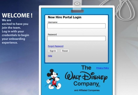 We were now officially employees of Disney and could log onto the portal!!