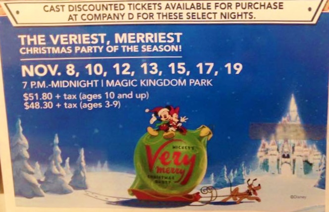 2015 mickeys very merry christmas party cast member ticket prices - Mickeys Christmas Party Tickets