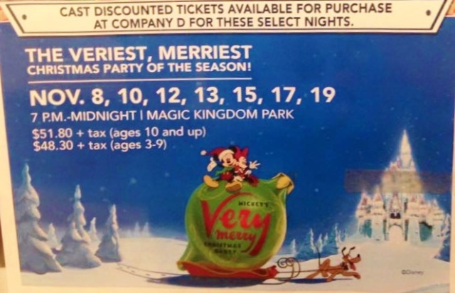 Cast member ticket prices