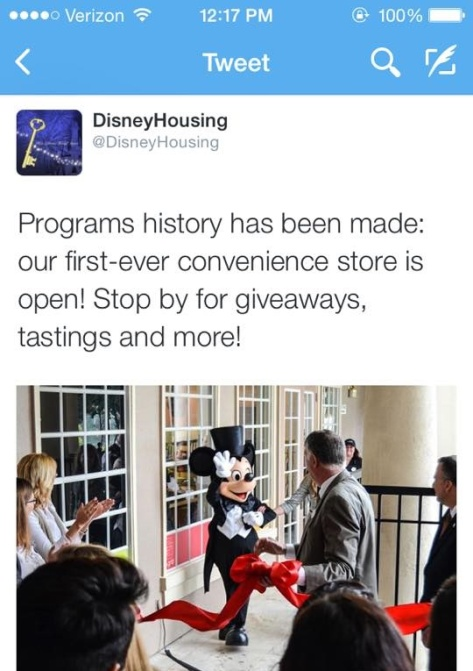 Disney Housing tweeted about the grand opening.