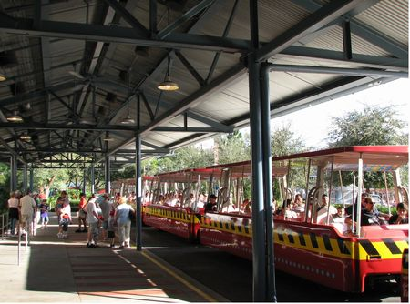All aboard the Backlot Tour trams..