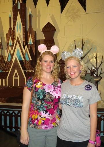 two disney sisters Frozen Mickey ears gingerbread