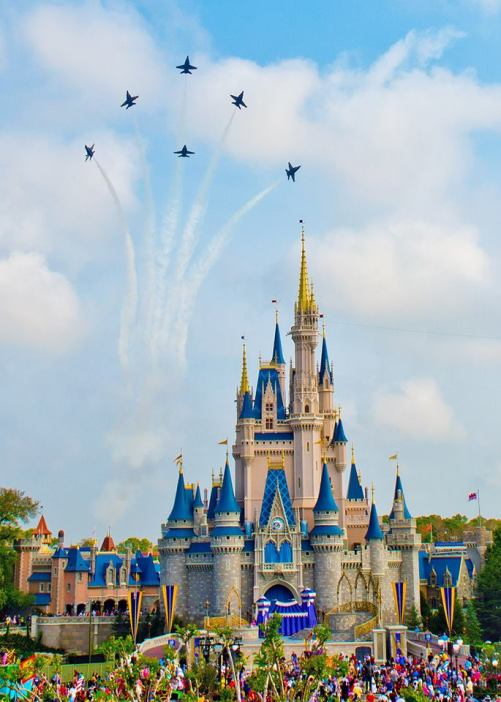 Flying the Delta Breakout over the Cinderella Castle.