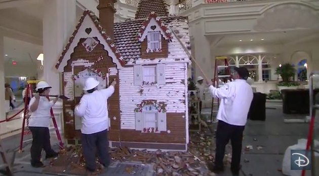 Taking down the GF Gingerbread House in January 2015.