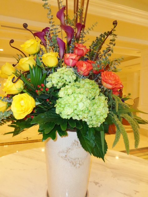 Beautiful flower arrangements throughout the lobby.
