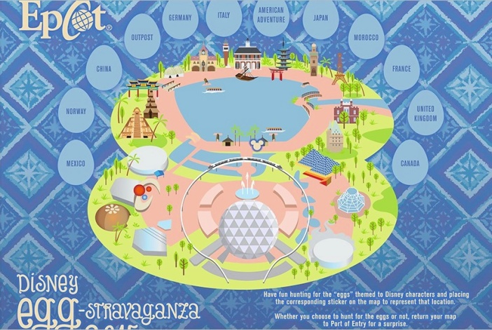 2015 Epcot Egg Hunt Map
