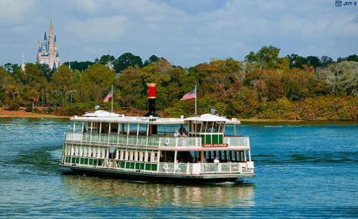 A Disney ferry boat leaving the Magic Kingdom
