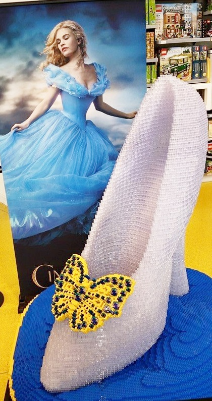 A glass slipper made of legos at Legoland in Downtown Disney.
