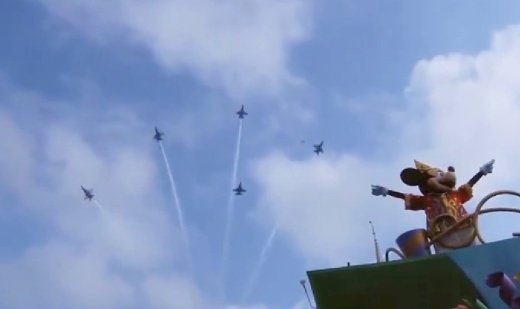 Mickey saluting the Blue Angels