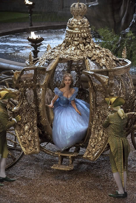 Cinderella emerging from the carriage at the Prince's Grand Ball.