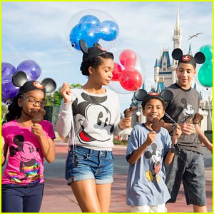 Actors Marsai Martin, Yara Shahidi, Miles Brown and Marcus Scribner, from the cast of the ABC series 'black-ish,' enjoying Mickey ice cream bars.