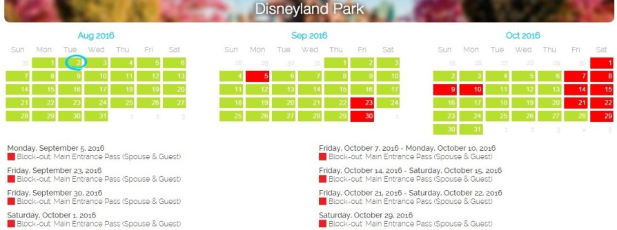 Disney black out dates