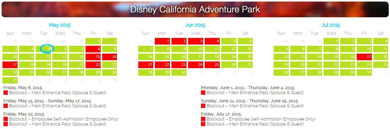 Disneyland Blackout Days 2015 | 2015 Calendar Printable